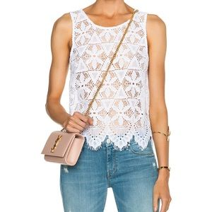 Frame Le Lace Tank Top in White